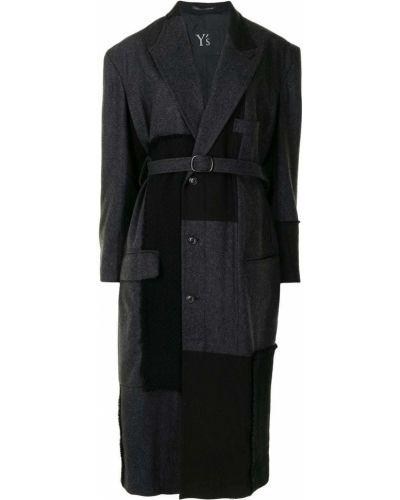 Серое шерстяное длинное пальто с карманами Y's