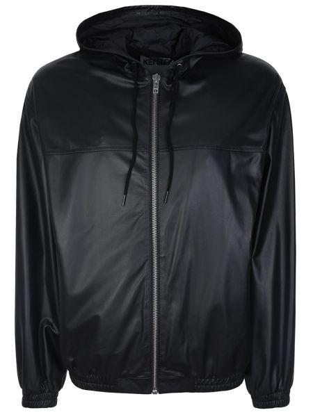 Кожаная куртка с капюшоном - черная Kenzo