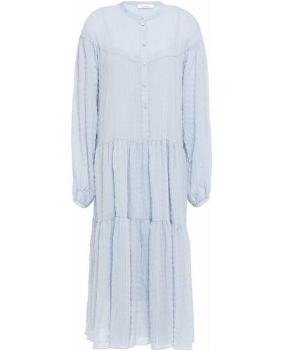 Синее платье миди из крепа на пуговицах SamsØe Φ SamsØe