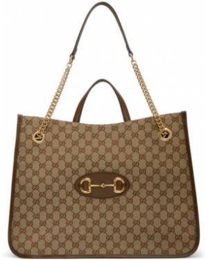 Brezentowy czarny torebka na łańcuszku z łatami prążkowany Gucci
