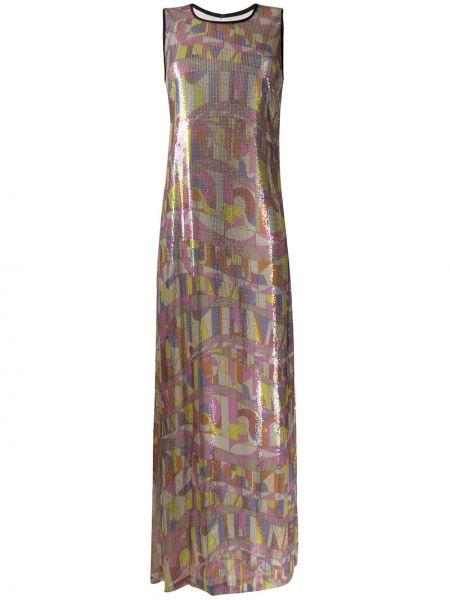 Платье макси с пайетками без рукавов с вырезом Emilio Pucci