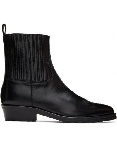 Кожаные черные кожаные ботинки на каблуке каскадные Toga Virilis