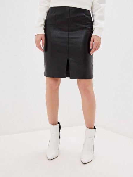 Кожаная юбка весенняя черная Zarina