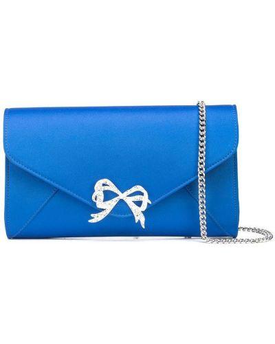 Satynowa niebieska kopertówka Marchesa Notte