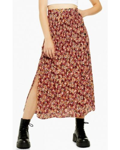 Плиссированная юбка бордовый красный Topshop