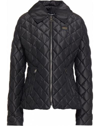 Czarna kurtka pikowana skórzana Dolce And Gabbana