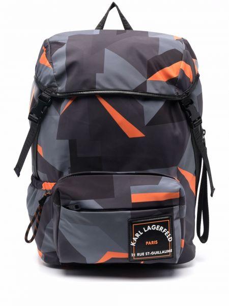 Plecak z printem - pomarańczowy Karl Lagerfeld