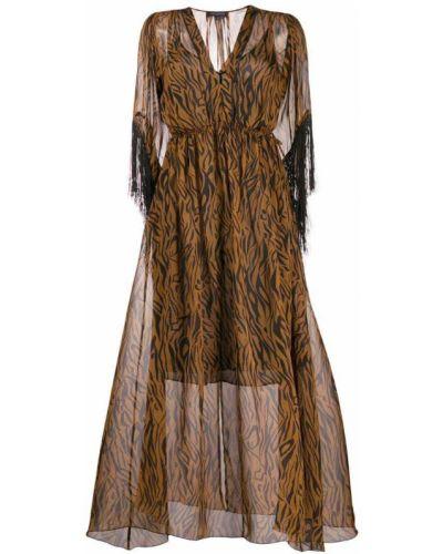 Платье миди с V-образным вырезом с длинными рукавами Antonelli