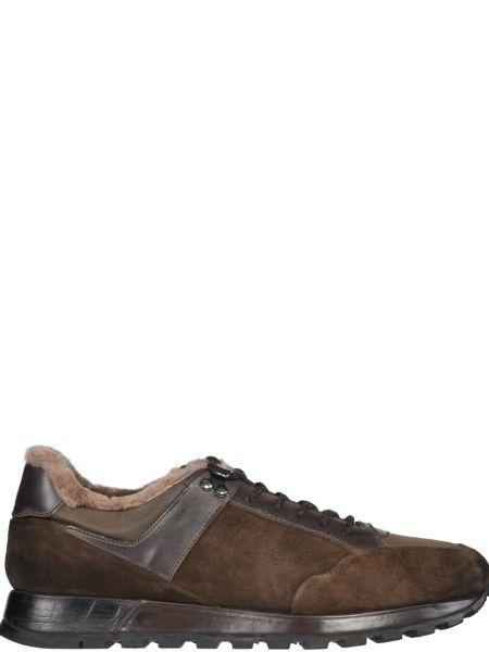 Коричневые кроссовки замшевые Fabi
