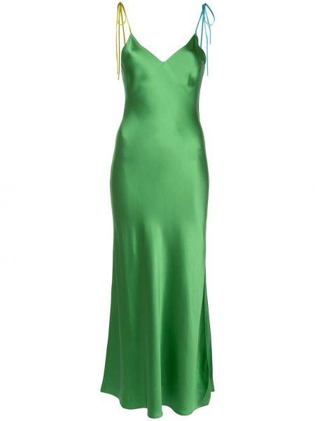 Zielona sukienka z jedwabiu z dekoltem w serek Dannijo