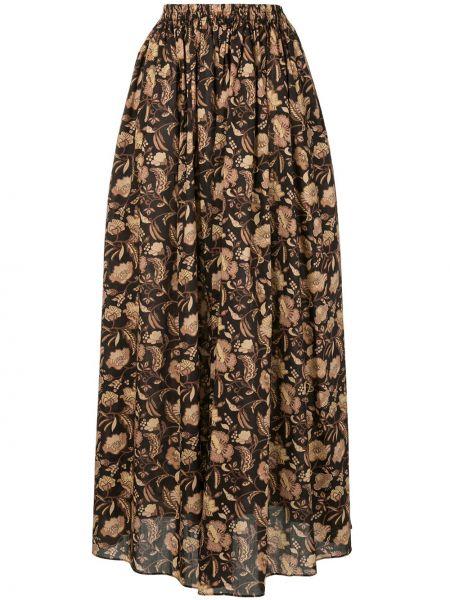 Хлопковая коричневая с завышенной талией юбка макси с поясом Matteau