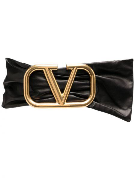Кожаный черный ремень с поясом с декоративной отделкой Valentino Garavani