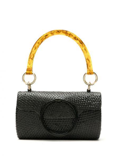 Золотистая черная соломенная сумка Serpui