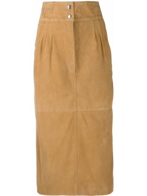 С завышенной талией плиссированная кожаная юбка Alberta Ferretti