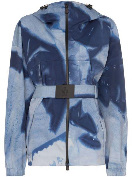 Синяя горнолыжная куртка с воротником Moncler