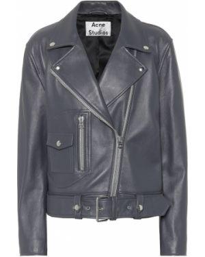Кожаная куртка байкерская серебряная Acne Studios