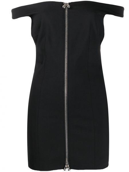 Облегающее черное платье мини с открытыми плечами Dsquared2
