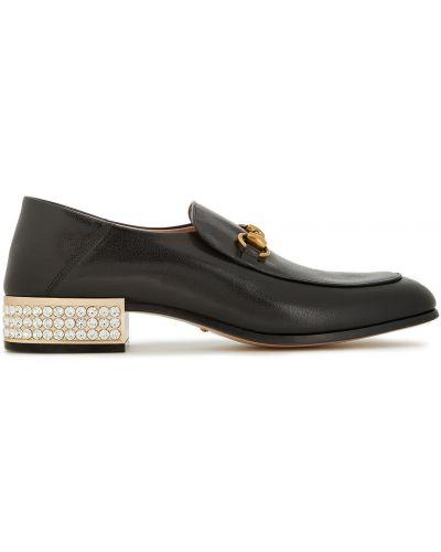 Czarne loafers skorzane na obcasie Gucci
