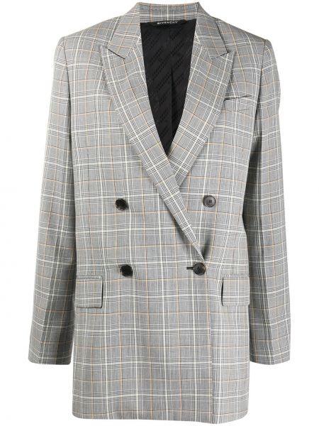 Шерстяной удлиненный пиджак двубортный в клетку Givenchy