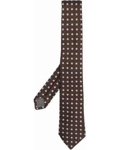 Brązowy krawat w grochy z jedwabiu Brunello Cucinelli