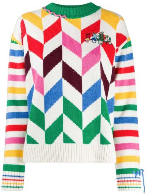 Белый акриловый свитер с вышивкой с круглым вырезом Mira Mikati