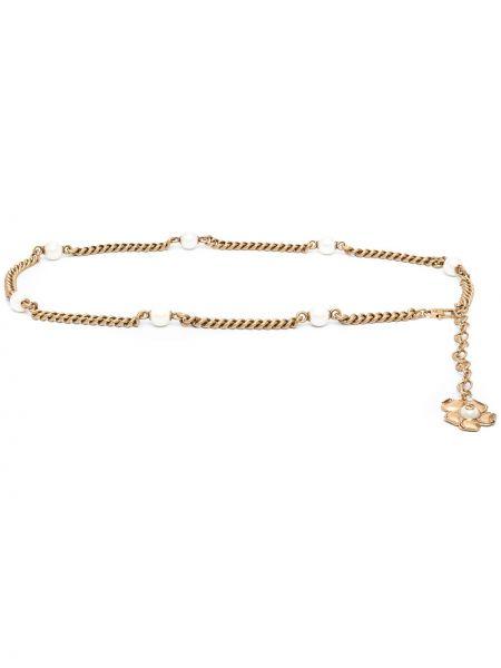Pasek z paskiem złoto z ozdobnym wykończeniem metal Gucci