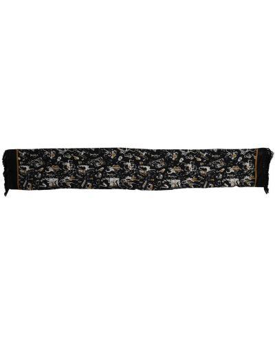 Czarny szalik z frędzlami kopertowy Dolce And Gabbana