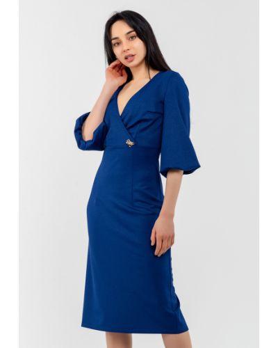 Трикотажное синее платье с запахом Modniy Oazis