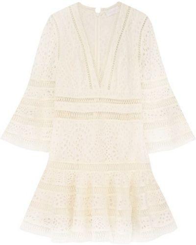 Платье мини с цветочным принтом с V-образным вырезом приталенное Zimmermann