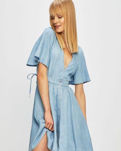 Джинсовое платье расклешенное с V-образным вырезом Guess Jeans