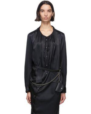 Кожаный черный ремень с пряжкой с поясом Ann Demeulemeester