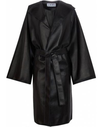 Деловое черное кожаное дафлкот Loewe
