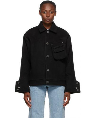Czarny długa kurtka z mankietami z kieszeniami z długimi rękawami Ader Error