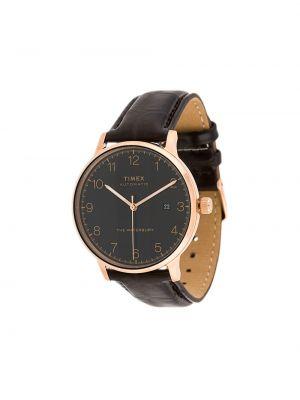 Zegarek na skórzanym pasku skórzany - brązowy Timex