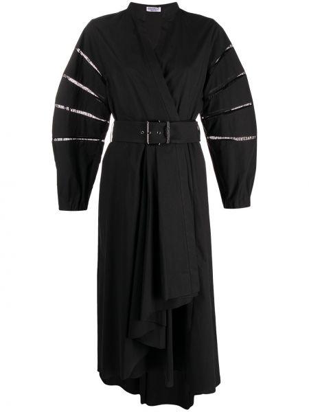 Черное платье миди с поясом с вырезом Brunello Cucinelli