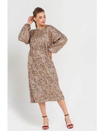 Трикотажное вечернее платье с открытой спиной с пайетками Vovk