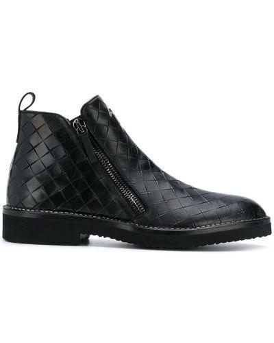 Ботильоны черный кожаный Giuseppe Zanotti