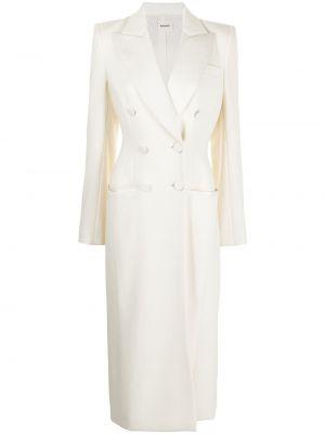 Шерстяное белое длинное пальто двубортное Khaite