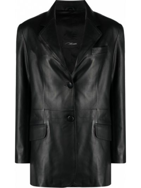 Однобортный черный кожаный удлиненный пиджак Manokhi