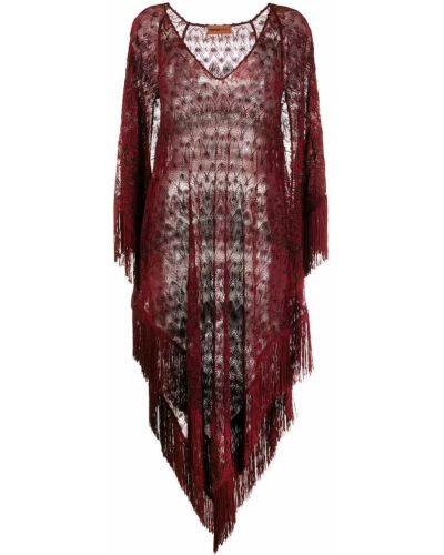 Асимметричное красное пляжное платье с бахромой с V-образным вырезом Missoni Mare