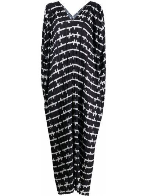 Черное платье мини с короткими рукавами с вырезом Henrik Vibskov
