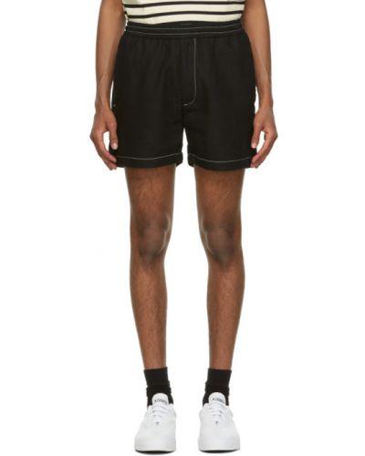 С кулиской парусиновые черные шорты с карманами Second/layer