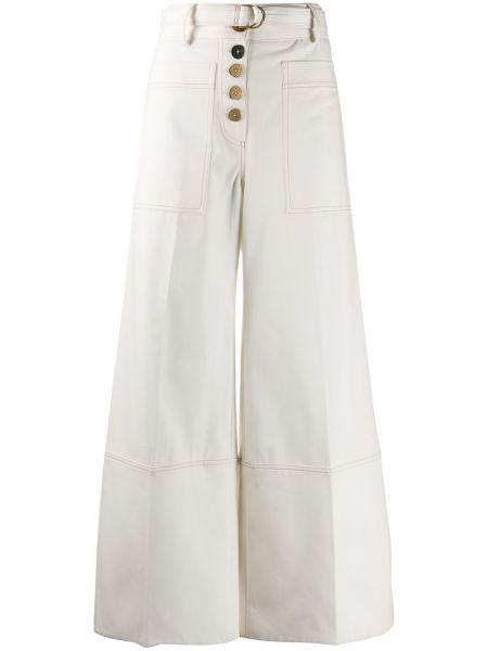 С завышенной талией хлопковые белые брюки Eudon Choi