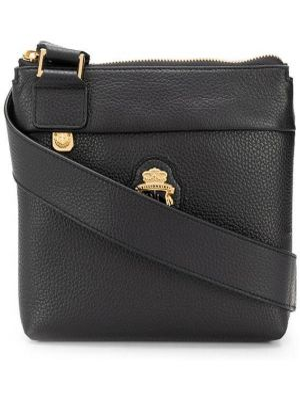 Кожаная черная сумка мессенджер на молнии с карманами Billionaire