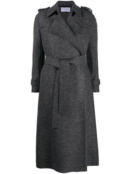 С кулиской шерстяное серое длинное пальто с поясом Harris Wharf London