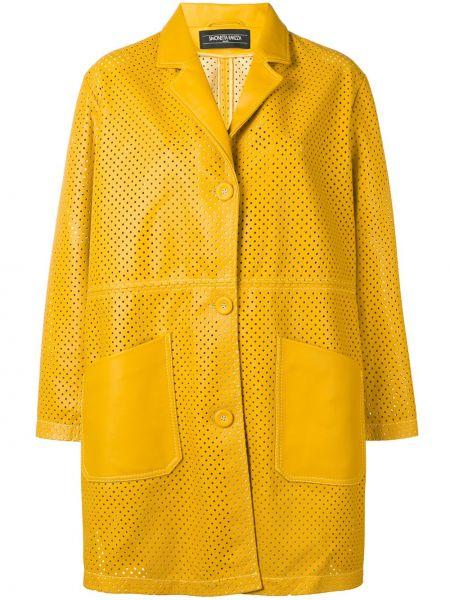 Желтое кожаное пальто с накладными карманами на пуговицах с лацканами Simonetta Ravizza