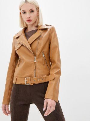 Коричневая демисезонная кожаная куртка Softy