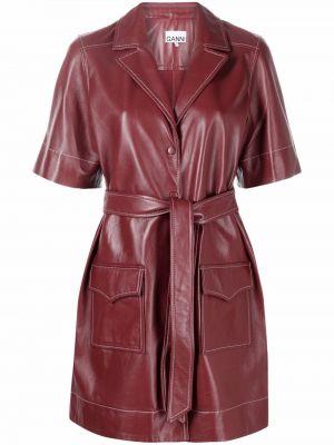 Кожаное платье - красное Ganni