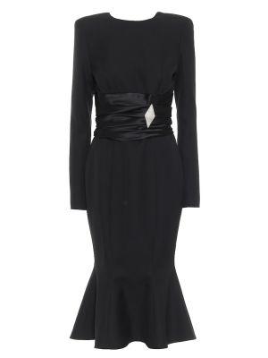 Czarna sukienka midi wełniana Alexandre Vauthier