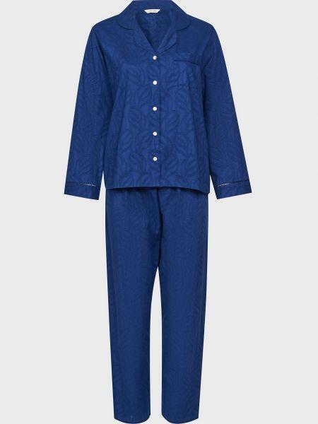 Хлопковая пижамная синяя пижама на пуговицах Nora Rose